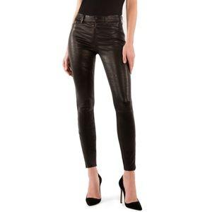 J Brand L8001 Mid-Rise Super-Skinny Leather Pants